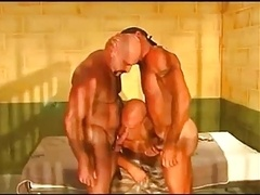 Aroused threesome in prison cell