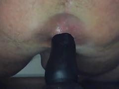 Riding my big black dildo