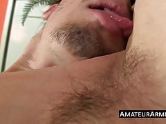 Dildo riding twink licking his hairy armpits and jerking