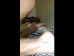 Hairy bottom tries new toy