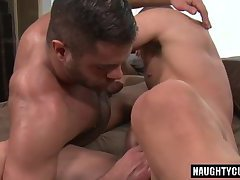 Hairy gay flip flop with cum eating