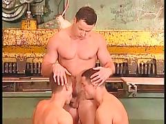 Three men in a raunchy sex trio