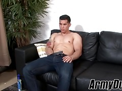 Muscular Latino hunk RJ works on his thick meaty cock