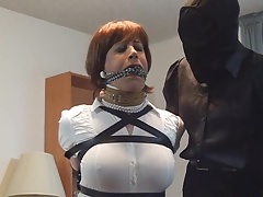Tranny bound and gagged by Intruder