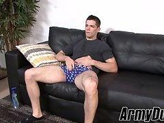 Hung soldier Julian Brady jerking off while off duty