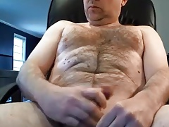 Handsome hairy married guy wanking