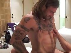 Hairy guys fuck bareback