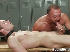 Josh strung and plus horse-hung from ceiling gay BDSM film 3