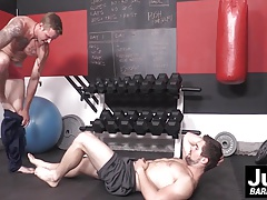 Sexy hunks Griffin and hot Shawn nailing hard at the gym