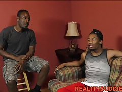 Freaky black homo thugs go down on each other hard