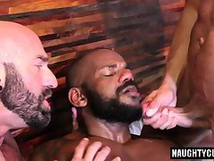 Hot gay threesome with creampie