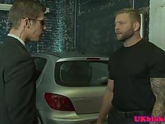 Cocksucking buff asspounding stud in the car
