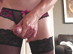 Crotch-less panties, posing playing and cum on stockings