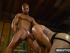 Hairy jock fisting and cumshot