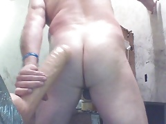 Joey and MONSTER dildo having CURVY butt fun!