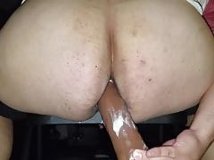 9 inch dildo in big white ass