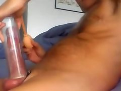 Pumping my cock before jerking off