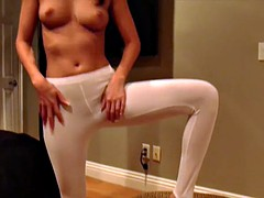These yoga pants really huge my shaved pussy JOI