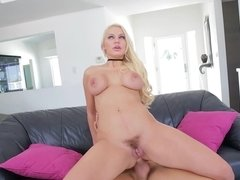 A busty slut that knows how to party is doing things to a large dick