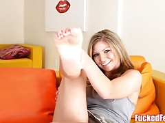 Blonde Babe Brianna Brooks Get Feet Fucked For First Time!