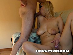Pretty big titted MILF with glasses giving head for cumshot