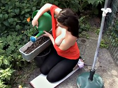 Working in the garden with boobs out - spy - voyeur video