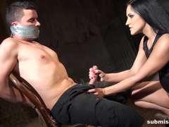 Bondage discipline sadomasochisme, Sperma shot, Dominante vrouw, Handbeurt
