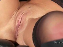 Lesbian Milf in lingerie pussy fingered