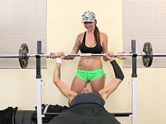 Explicit GYM session with intense workouts