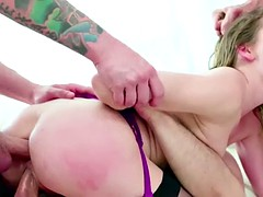 Lovely blonde Angel gets her pussy rammed by a group of dicks