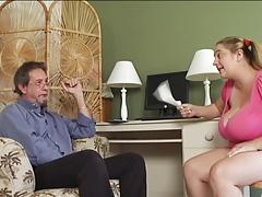 Massive tits Jerks off the teacher