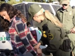 Border patrol officers fucked pretty non-pro brunette babe