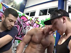 Dirty brunette babe Carla Crouz asshole fucked by many cocks