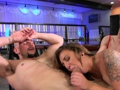 A pair of chicks that love sucking cock are in a hot threesome