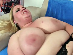 Huge boobed girl takes cock