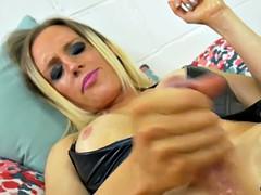 lovely trans babe masturbating in stockings