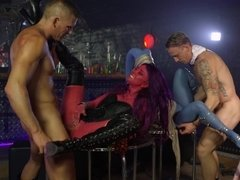 Threee hot babes paint their bodies and they ride some dicks