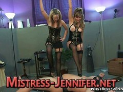 A duo Domme create anal floozy and furthermore trample