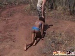African Teen Forced Into Pleasing Cock Outdoors