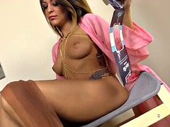 HOT italian girl puts on pantyhose on her naked body