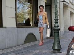 legal teen shopping public in high heels and besides dress (+upskirt)