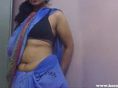Horny Lily In Blue Sari Indian Babe Sex Video