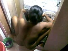 Indian maid washing clothes nude after owner fucked her