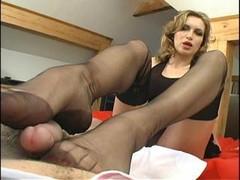 nylon lover, with footjob