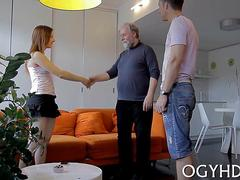 Dirty brunette sucks and fucks an old man real hard