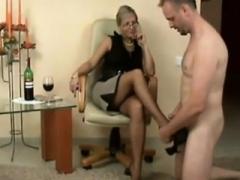 Sexy German Mom i`d like to fuck give footjob