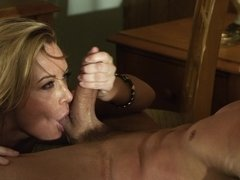 Hot girl satisfies man as she can allowing him to do everything