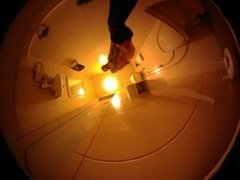 Female urination in the guest toilet - Voyeur Style
