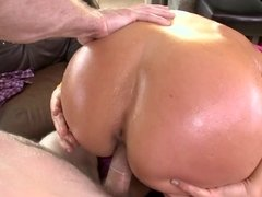 A blonde with a big ass is and large tits is fucking her masseur