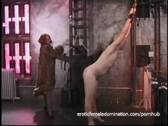 Naughty blonde stud likes being whipped by a smoking hot redhead